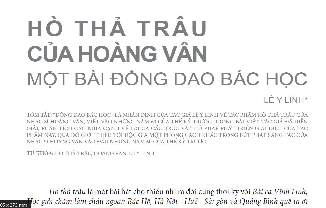 Hò Thả Trâu - một bài đồng dao bác học - tác giả Lê Y Linh